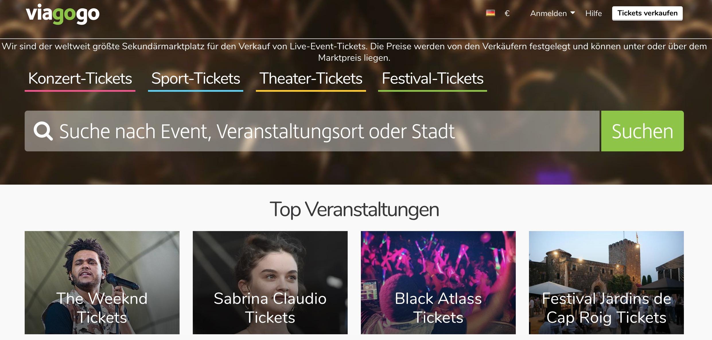 viagogo (Screenshot Homepage)